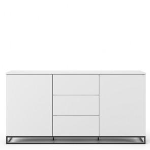 Credenza buffet TemaHome con 2 ante e 3 cassetti. Mobile Tv bianco con piedini in metallo, ideale in cucina e soggiorno