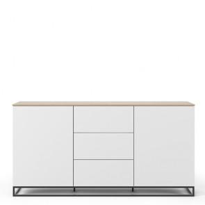 Credenza buffet TemaHome con 2 ante e 3 cassetti. Mobile Tv quercia con piedini in metallo, ideale in cucina e soggiorno.