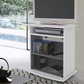 Mobile televisore bianco con 2 ante in vetro. Carrello porta Tv e Pc con ruote e mensole, misure 73x62x40 cm.
