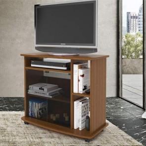 Mobile televisore noce con vetrina. Carrello porta Tv e Pc con ruote, mensole e vetrinetta, misure 73x81x40 cm.