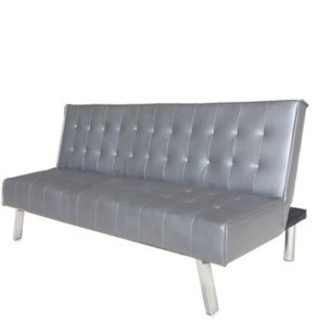 Divano letto reclinabile 2 posti, divani moderni 3 posti rivestiti in poliuretano grigio piombo, ideale in soggiorno e in ufficio.