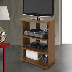 Mobile porta Pc e stampante in legno noce. Carrello mobiletto porta tv con ruote e mensole per camera da letto