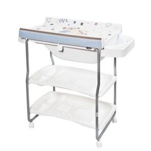 Bagnetto per neonato Primi sogni, con piano fasciatoio alzabile. Fasciatoi camerette neonati con vaschetta ergonomica e due ripiani portabiancheria