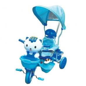 Tricicli gattino blu per bambino con parasole e suoni. Triciclo passeggino a pedali per bambini con maniglione.