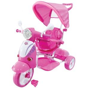 Vespa scooter rosa per bambino con parasole e suoni. Triciclo passeggino a pedali con maniglione per bambini.