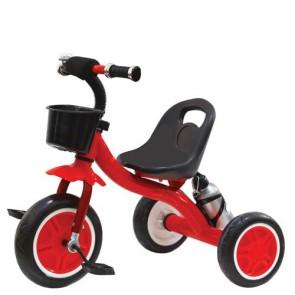 Triciclo bambino in metallo rosso con cestino anteriore. Tricicli bimbi a pedali per bambini con portabottiglia