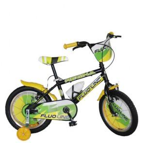 Bici bambino Regina Fluo Line 16 pollici. Biciclette per bambini con rotelle e borraccia.