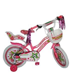 Bicicletta bici bambina 16 pollici Fashion star con rotelle. Biciclette per bambini con cestino e seggiolino posteriore bambino.