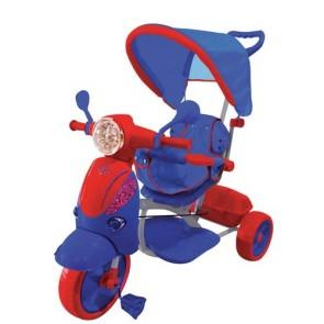 Vespa scooter rosso e blu per bambini con parasole e suoni. Triciclo passeggino a pedali per bambino con maniglione.