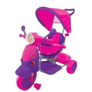 Vespa scooter fucsia e viola per bambina con parasole e suoni. Triciclo passeggino a pedali