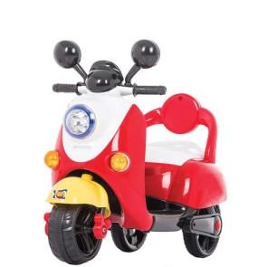 Vespa elettrica rossa per bambini con tre ruote, moto elettrica bambino con batteria 6 volt.