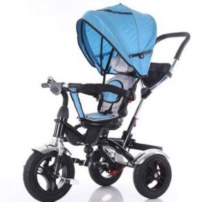Triciclo blu per bambino con cappottina e tre ruote gonfiabili. Tricicli passeggino a pedali per bambini con maniglione e sedile Girevole 360°.