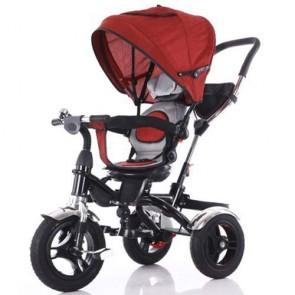 Triciclo rosso per bambino con cappottina e tre ruote gonfiabili. Tricicli passeggino a pedali per bambini