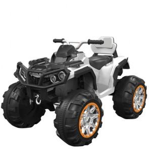 Quad elettrico bianco per bambino 12v, moto quad elettrica ricaricabile per bambini con luci e suoni.