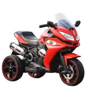 Moto elettrica per bambini con tre ruote luminose e luci led, Motocicletta rossa per bambino con batteria 12 volt e ingresso USB.