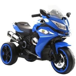Moto elettrica per bambini con tre ruote luminose e luci led, Motocicletta blu per bambino con batteria 12 volt e ingresso USB.