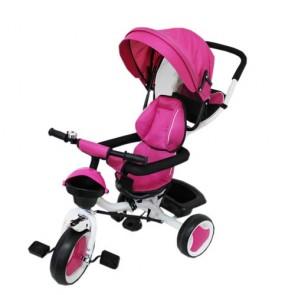 Triciclo tricygo in metallo rosa per bambina con cappottina e cestino portaoggetti.