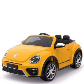 Auto elettriche con batteria 12 volt, maggiolino cabrio Volkswagen per bambini con telecomando. Maggiolone macchina elettrica gialla per bambino con radiocomando.