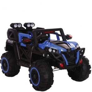 Macchina elettrica per bambini 12 Volt con telecomando e due poggiatesta. Fuoristrada elettrico SUV 4x4 colore blu per bambino con radiocomando e MP3.