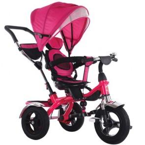 Triciclo rosa per bambina con cappottina e tre ruote gonfiabili. Tricicli passeggino a pedali per bambine