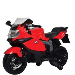 Moto elettrica BMW K1300S per bambini con luci e musica. Motocicletta rossa per bambino con batteria 12 Volt e rotelle.