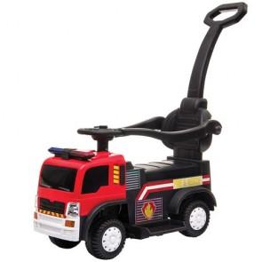 Camion dei pompieri cavalcabile per bambini primi passi. Camion elettrico 6 volt per bambino con maniglione e retromarcia.