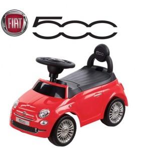 Macchina cavalcabile per bambini primi passi Fiat 500 rossa. Macchine a spinta per bambino con suoni al volante.