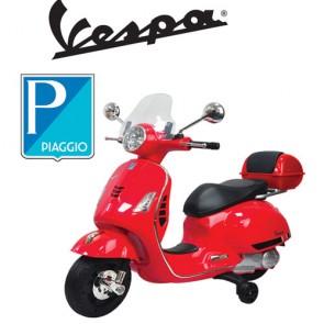 Vespa elettrica GTS Piaggio rossa per bambini con batteria 12 volt, scooter elettrico per bambino con rotelle e bauletto.