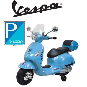 Vespa GTS elettrica per bambini Piaggio blu con batteria 12 volt, scooter elettrico per bambino con rotelle e sellino in ecopelle.