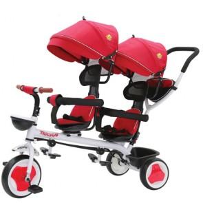 Triciclo tricygo gemellare per bambino con cappottina e cestino portaoggetti. Tricicli passeggino gemellari a pedali per bambini con maniglione e sedile Girevole 360°.
