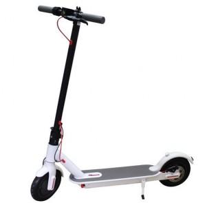 Monopattino elettrico bianco 250W per bambini e ragazzi con fari a led e batteria 36V, monopattini elettrici pieghevole per adulti con due ruote.