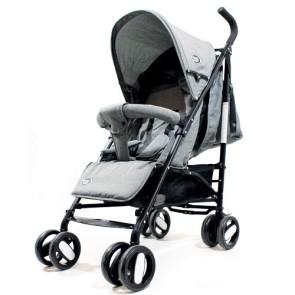 Passeggini leggeri 4 ruote per bambini richiudibile a ombrello, passeggino leggero da viaggio per bambino colore light grigio. Carrozzina neonato completa di borsa.