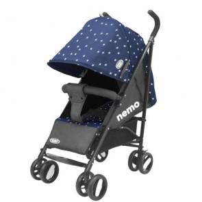 Passeggini leggeri 4 ruote per bambini richiudibile a ombrello, passeggino leggero da viaggio per bambino colore blu e grigio. Carrozzina neonato completa di borsa.