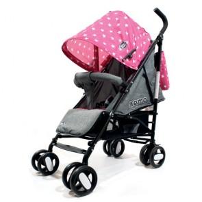 Passeggini leggeri 4 ruote per bambini richiudibile a ombrello, passeggino leggero da viaggio per bambina colore rosa e grigio. Carrozzina neonato completa di borsa