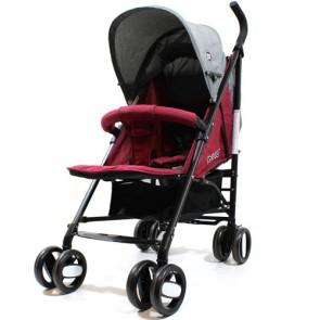 Passeggini leggeri 4 ruote per bambini richiudibile a ombrello, passeggino leggero da viaggio per bambino colore rosso e grigio. Carrozzina neonato completa di borsa.