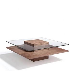 Tavolino salotto Angel Cerdà, realizzato in legno massello impiallacciato noce. Tavolini per salone