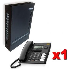 Kit Centralino telefonico analogico PABX 3 linee esterne e 8 telefoni interni e 1 telefono per ufficio Alcatel integrato