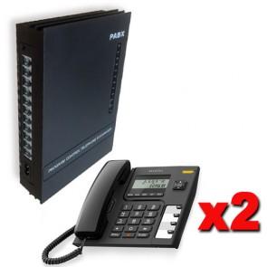 Kit Centralino telefonico analogico PABX 3 linee esterne e 8 interni completo di 2 telefoni Alcatel con display