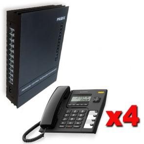 Kit Centralino telefonico per ufficio completo di 4 telefono Alcatel, 3 linee telefoniche esterne e 8 telefoni interni