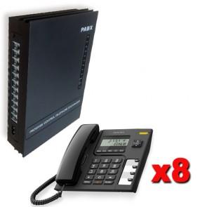 Kit Centralini telefonici da ufficio 3 linee esterne e 8 linee interne completo di 8 telefono Alcatel con display