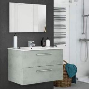 Mobile bagno moderno sospeso Aruba. Mobili bagno Fores sospesi in legno completo di specchio, colore cemento.