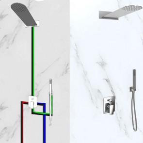 Kit doccia completo di soffione da parete stondato in acciaio inox. Mix incasso doccia con deviatore due uscite, flessibile e doccetta in ABS cromato abbinato.