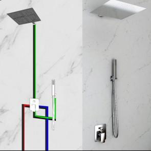 Kit doccia completo di soffione da parete quadrato in acciaio inox. Mix incasso doccia con deviatore due uscite, flessibile e doccetta in ABS cromato abbinato.