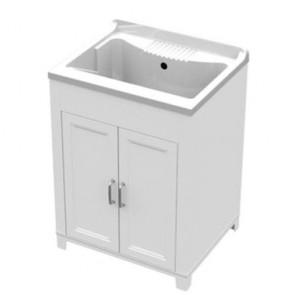 Kit lavatoio in resina antiacido 60x50 cm con mobile. Lavatoio lavanderia con vasca e tavoletta lavaggio in polipropilene