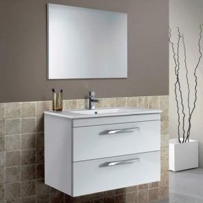 Mobile bagno moderno sospeso Aruba. Mobili bagno Fores sospesi in legno, colore bianco laccato completo di specchio.