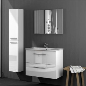 Mobile bagno moderno sospeso Aruba. Mobili bagno Fores sospesi in legno, colore bianco laccato completo di specchio e colonna sospesa.