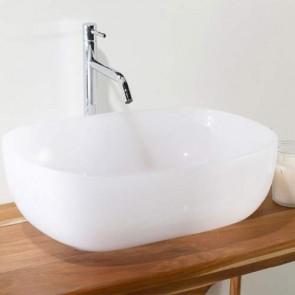 Lavabo bagno da appoggio moderno in resina, lavandino Cipì sospeso rettangolare colore latte