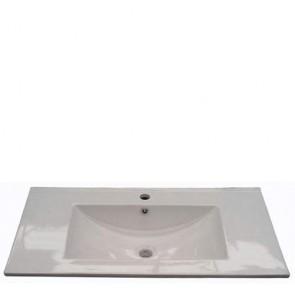 Lavandino bagno da incasso Fores in ceramica bianca, lavandini bagni moderni per mobile Dakota, Aruba