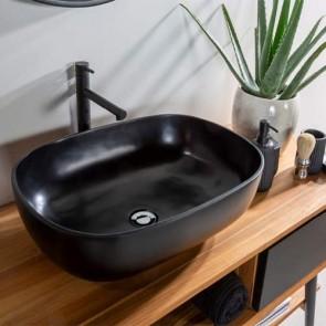 Lavabo bagno da appoggio moderno in resina, lavandino Cipì sospeso rettangolare colore ner