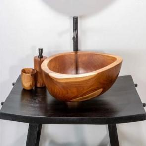 Lavandini da appoggio in radice di teak, lavandino bagno Cipì in legno ad alto spessore.